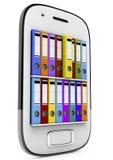 Las carpetas de anillo en el smartphone, 3d rinden Imágenes de archivo libres de regalías