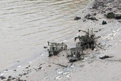 Las carretillas de las compras y otros artículos lanzados en un río Tidal están siendo cubiertos encima por el fango, el légamo y fotografía de archivo