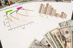 Las cartas de negocio y las cartas divulgan sobre la tabla con el dinero Conceptos abstractos financieros imagen de archivo libre de regalías