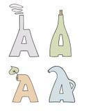 Las cartas estilizadas Imagenes de archivo