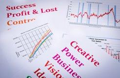 Las cartas y los gráficos de negocio con palabras imprimen Imagenes de archivo