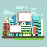 Las carteleras vacías urbanas del anuncio en ciudad plana vector el ejemplo ilustración del vector