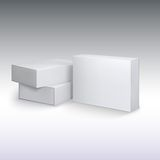 Las cartulinas blancas del producto, paquete encajonan la maqueta Fotos de archivo