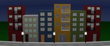 Las casas afrontan con las casas, las lámparas de calle y la calle coloridas en el ni Imágenes de archivo libres de regalías