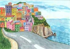 Las casas coloridas de Positano acercan al ejemplo dibujado mano de la acuarela del mar Mediterráneo