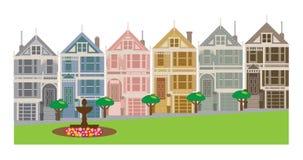 Las casas de fila pintadas de las señoras en San Francisco CA vector el ejemplo ilustración del vector