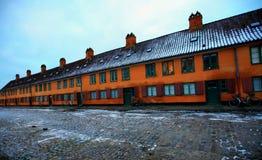 Las casas de Marin en Copenhague en invierno Imagenes de archivo