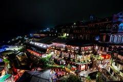 Las casas de té famosas en la noche Jiufen, Taiwán imagen de archivo libre de regalías