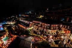 Las casas de té famosas en la noche Jiufen, Taiwán imagen de archivo