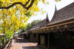 Las casas de Tailandia construyeron de la madera que los árboles plantaron alrededor de la casa Foto de archivo