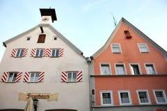 Las casas en ¼ de FÃ ssen, Alemania - 29 de julio de 2015 Fotografía de archivo