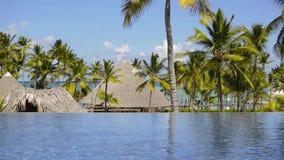 Las casas en la playa entre las palmeras metrajes