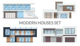 Las casas grandes modernas fijaron, las propiedades inmobiliarias firman adentro estilo plano Ilustración del vector ilustración del vector