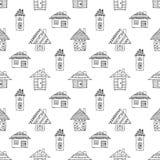 Las casas infantiles estilizadas decorativas dibujadas mano del modelo inconsútil del vector garabatean el estilo, mano linda orn stock de ilustración