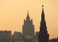 Las casas más altas viejas de Moscú. fotografía de archivo libre de regalías