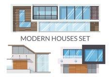 Las casas modernas fijaron, las propiedades inmobiliarias firman adentro estilo plano Ilustración del vector ilustración del vector