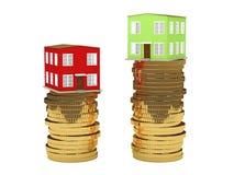 Las casas verdes y rojas Foto de archivo libre de regalías