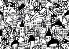 Las casas y el modelo inconsútil de los edificios vector el ejemplo para la tela, paño, paquete, pared, decoración, muebles, impr stock de ilustración