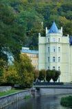 Las casas y las calles de Karlovy varían Imagen de archivo libre de regalías