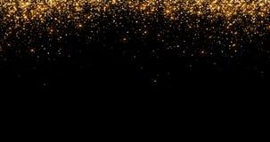 Las cascadas de las partículas de oro de las burbujas de la chispa del brillo protagonizan en el fondo negro, día de fiesta de la