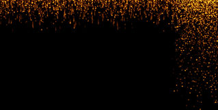Las cascadas de las partículas de oro del champán de las burbujas de la chispa del brillo protagonizan en el fondo negro, día de  ilustración del vector