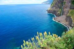 Las cascadas de Seixal en Madeira Foto de archivo