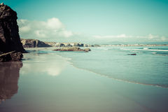 Las Catedrales beach in Galicia, Spain. Paradise beach in Ribade Royalty Free Stock Images