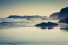 Las Catedrales beach in Galicia, Spain. Paradise beach in Ribade Royalty Free Stock Photography