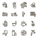 Las causas del negro de la diarrea enrarecen la línea sistema del icono Vector libre illustration