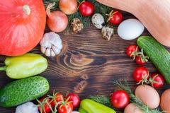 Las cebollas de la composición de la acción de gracias, pepinos, sazonan la calabaza con pimienta, Cala Imagen de archivo libre de regalías