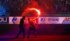 Las celebraciones del campeonato de APOEL aporrean, CHIPRE Imagen de archivo libre de regalías