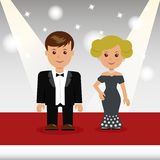 Las celebridades caminan la alfombra roja ilustración del vector