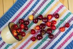 Las cerezas rojas y amarillas dispersaron en el mantel rayado Fotos de archivo libres de regalías