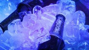 Las cervezas en la pila de hielo en club se encienden almacen de video