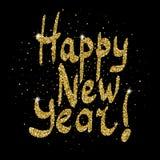 Las chispas del oro de la Feliz Año Nuevo mandan un SMS en fondo negro Imagenes de archivo
