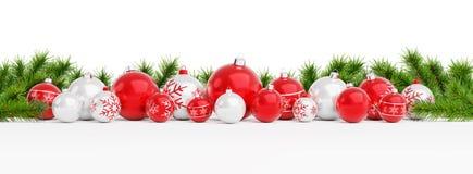 Las chucherías de la Navidad roja y blanca aislaron la representación 3D stock de ilustración