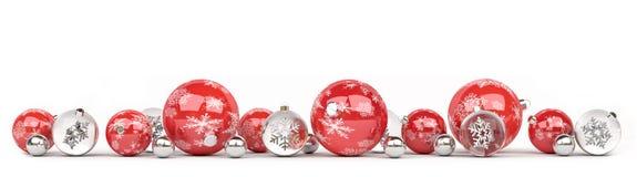 Las chucherías de la Navidad roja y blanca se alinearon la representación 3D Imagen de archivo libre de regalías