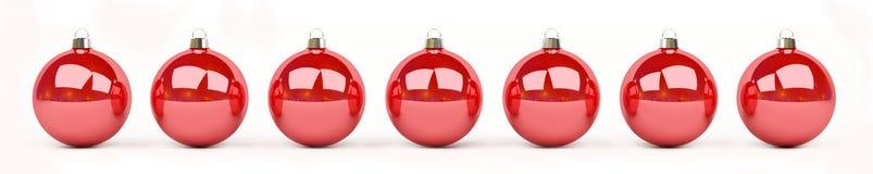 Las chucherías de la Navidad roja y blanca se alinearon la representación 3D Fotografía de archivo libre de regalías