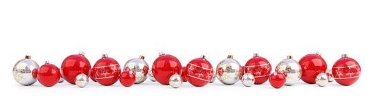 Las chucherías rojas y de plata de la Navidad aislaron la representación 3D ilustración del vector