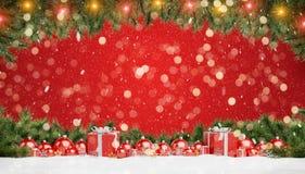 Las chucherías y los regalos rojos de la Navidad se alinearon la representación 3D ilustración del vector
