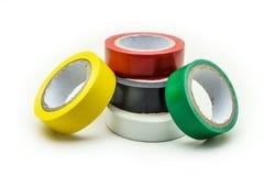 Las cintas adhesivas del aislamiento se aíslan en un fondo blanco Co foto de archivo libre de regalías