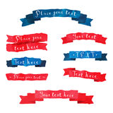 Las cintas dibujadas mano del vector del vintage de la acuarela fijaron con el texto escrito de la mano en colores azules y rojos Fotografía de archivo libre de regalías