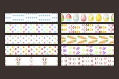 Las cintas inconsútiles del vector de Pascua diseñan la celebración de la primavera de la decoración del día de fiesta del modelo Foto de archivo
