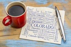 Las ciudades importantes de la palabra de Colorado se nublan en servilleta Fotos de archivo libres de regalías