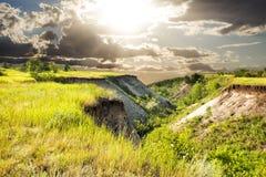 Las colinas en la puesta del sol Imagen de archivo libre de regalías