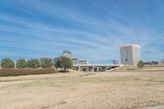 Las Colinas skyline view from John Carpenter Freeway. It is  an upscale, developed area in the Dallas suburb of Irving, Texas, USA Stock Photo
