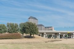 Las Colinas skyline view from John Carpenter Freeway. It is an upscale, developed area in the Dallas suburb of Irving, Texas, USA royalty free stock photo