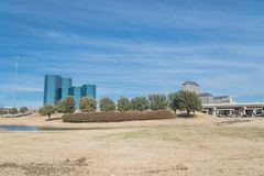 Las Colinas skyline view from John Carpenter Freeway. It is  an upscale, developed area in the Dallas suburb of Irving, Texas, USA Stock Images