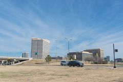 Las Colinas skyline view from John Carpenter Freeway. It is  an upscale, developed area in the Dallas suburb of Irving, Texas, USA Stock Image