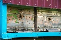 Las colmenas en el colmenar con las abejas que vuelan en el aterrizaje suben Imágenes de archivo libres de regalías